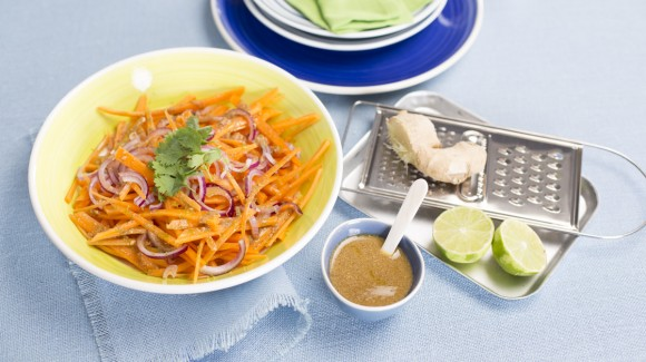 Carrot salad with ginger, coriander and lime