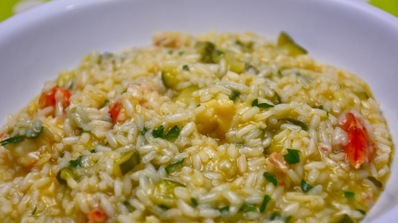 Giuliano's best risotto salad with zucchini and tomato